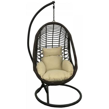 Πολυθρόνα κρεμαστή μεταλλική rattan καφέ-μπεζ 203εκ Click 6-50-166-0006